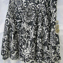 Juicy Couture Skirt Silk Black/beige Floral Print Creme Brulee Voile 6 Nwt Photo