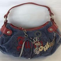 Juicy Couture Small Blue and Red Velour Tote Bag Handbag Purse Photo