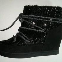 Juicy Couture Sparkly Mareen Black 7 Med Womens Ankle Shoe Boots New Ret 90 Photo