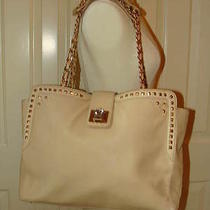Juicy Couture Studded Bling Bombshell Ivory Praline Leather Freya Tote Bag Nwt Photo