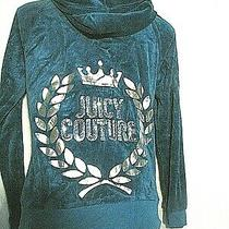 Juicy Couture Teal Blue Green Velour Track Suit Size M Bling Sequins  Photo