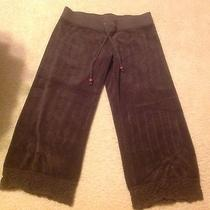 Juicy Couture Terry Cloth Cropped Capri Pants Size Small Brown Photo