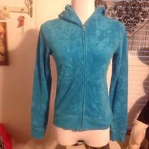 Juicy Couture Terry Cloth Zip Up Hoodie Size Medium Turquoise Photo