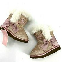 Juicy Couture Toddler Girls Lil Windsor Rose Gold Glitter Cozy Boots Size 8 Photo