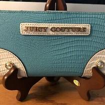 Juicy Couture Two Tone Blue & White Leather Slim Clutch Wallet Photo