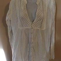 Juicy Couture v-Neck Button Down Top Size 10 Long Sleeve Lace Elements  Photo