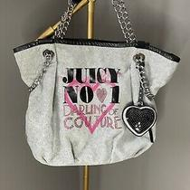 Juicy Couture Velour Handbag Gray Chain Leather Strap Photo