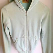 Juicy Couture Velour Hoodie Jacket Mint Green Blue Size Medium Free Ship W/ Bin Photo