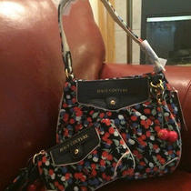 Juicy Couture Velour & Leather Blue & Red Cherry Hobo Bag & Wristlet Set New Photo