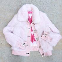 Juicy Couture Viva La Juicy Rabbit Fur Leather Blush Pink Leather Jacket Sz M Photo