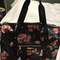 Juicy Couture Weekender Duffel Bag in Bloom Black W Pink Roses Photo