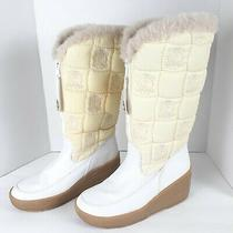 Juicy Couture White Everest Quilted Tall Boots Faux Fur Winter Sz 10 Womens  Photo