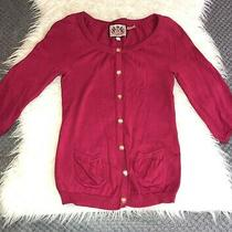 Juicy Couture Womens 100% Cotton  Raspberry Cardigan Gold Button Sweater Size S Photo