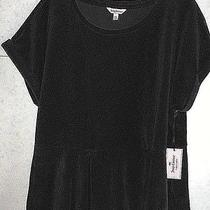 Juicy Couture Xl Black Velour Scoop-Neck Pullover Peplum Top Cotton/poly S/s Nwt Photo