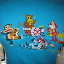 Julius & Friends Paul Frank Monkey Hippo Dog Giraffe and Cat Band Print Tee Xs Photo
