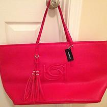 Jumbo Bebe Signature Red  Lisa Tote Bag Handbag Purse Weekender Nwt Msrp 125 Photo