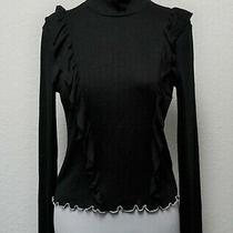 June & Hudson Black Ruffled Scalloped Mock-Neck L/s Sweater Top Size 1 (Small) Photo