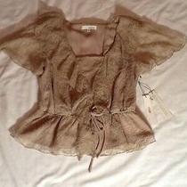 June & Hudson Blouse Top Size M Lacy Ruffles Lace Nwt Photo