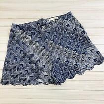 June & Hudson Size Medium Blue Chevron Scalloped Dress Shorts Pockets Zip Back Photo