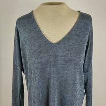 June & Hudson Womens Sz Xs Knit Top Tee Metallic Blue Sheer v-Neck Stretchy L/s Photo