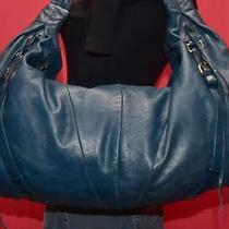 Junior Drake Teal Blue Leather Hobo Shoulder Fringe Pleated Slouchy Purse Bag Photo