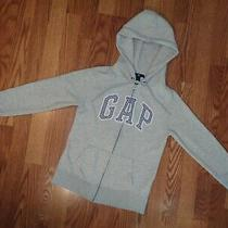 Junior Gap Sweatshirt Zipper Hoodie Grey Blue Cotton Blend Perfect Sz Xs Photo