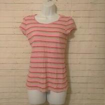 Junior's Aeropostale Pink Striped Slim Fit Tshirt Size L Photo