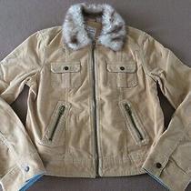 Junior's Aeropostale Soft Velvet Jacket Size Large Tan Faux Fur Zip-Up Photo