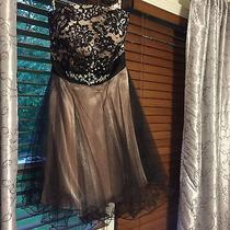 Junior's Black and Blush Cire Formal Strapless Dress Size 6 Photo