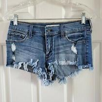 Junior's Light Blue Distressed Cutoff Jean Shorts by Abercrombie Size 2 Photo