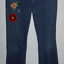 Junior Size 13 L Embroidered Superlow Boot Cut Jeans (Levi's 318) Photo
