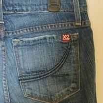 Junior Woman Medium Blue Low Rise Boot Cut Express X2 Jeans Size 27 Black Stitch Photo