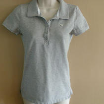 Juniors Aero Aeropostale Ss Polo Shirt Top Gray L Photo