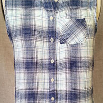 Juniors Aeropostale Sleeveless Lace Blue Plaid Button Front Sz Xs Shirt Photo