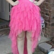 Juniors Coral Pink High Low Prom Dress Photo