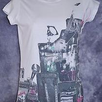 Juniors Hurley White Electric Guitar Amps Graphic Summer T-Shirt Size S Photo