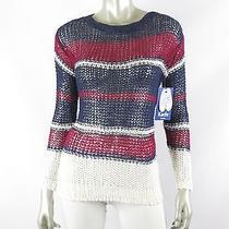 Juniors Keds Midnight/garnet Striped Combo 3/4 Sleeve Cozy Knit Sweater Nwt S Photo