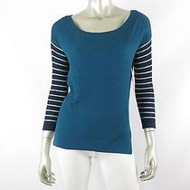 Juniors Keds Turquoise/navy Solid Front/striped Back/sleeves Knit Sweater Nwt M Photo