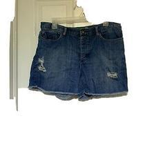 Juniors Roxy Boyfriend Distressed Raw Hem Jean Shorts Size 11 100% Cotton  Photo