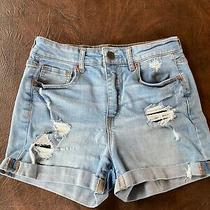 Juniors Size 4 Aeropostale Jean Shorts High Waisted Midi Destroyed Distressed Photo