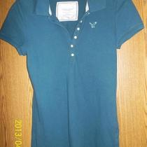 Juniors Size Medium American Eagle Outfitters Polo Style Aqua Blue Shirt  Photo