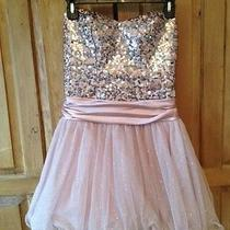 Juniors Strapless Short Formal Dress Blush Pink Sparkles and Sequins Tulle Skirt Photo