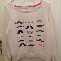 Juniors Womens Size L (Large) Aeropostale Crew Neck Mustaches Sweatshirt Photo