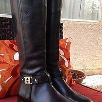 Just Gorgeous New Tory Burch 'Brita' Black Leather Riding Boots Size 6.5 Photo