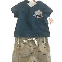 Just One You by Carters Baby Boy Shark Print 2 Pc Set Size Nb Blue Tee & Shorts Photo