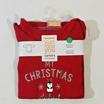 Just One You Made by Carter's Baby Long Sleeve Penguin Bodysuit Red 9 Months Photo