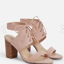 Justfab Sky Lace-Up Blush Casual Heels Sandals Shoes Photo