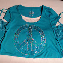 Justice Aqua Blue Peace Sign Shirt Size 8 Photo