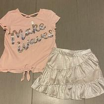 Justice Blush/pink & Silver Mermaid Make Waves Tie Front Tee & Skort Skirt 8/10 Photo