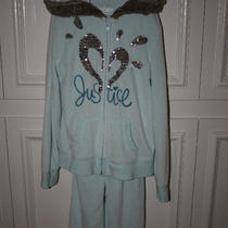 Justice Girl's Size 10 Aqua Velour Hooded Jacket and Pants Photo